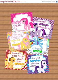 ON SALE Instant Downoad Buy 2 Get 1 Free Lunch Box Notes Cards Back To School My Little Pony MLP Encouraging lunchbox printable file girls h by susanefird on Etsy https://www.etsy.com/listing/242200025/on-sale-instant-downoad-buy-2-get-1-free