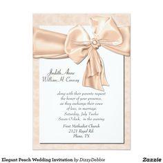 Elegant Peach Wedding Invitation