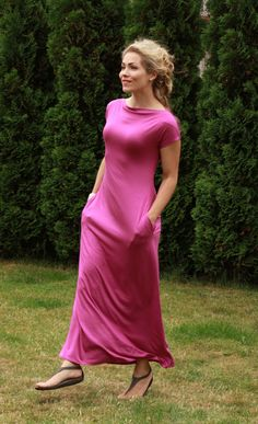 Floor length dress with pockets maxi pink dress short sleeve dress pink dress with pockets light dress holiday dress pink casual pink dress