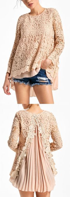 Long Sleeve High Low Pleated Lace Blouse