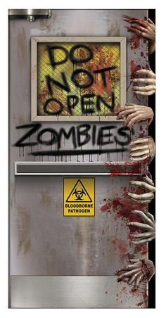 ZOMBIES LAB DOOR COVER A great decorative item for the front of your home or some inner door that the guests of your Halloween party might see! Really shows your sense of humour! Shows laboratory door with hands all over tr Halloween Zombie, Soirée Halloween, Halloween Office, Modern Halloween, Fairy Halloween Costumes, Halloween Haunted Houses, Asylum Halloween, Zombie Party, Halloween Quotes