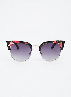 "Just because you're protecting your eyes, doesn't mean you can't have a little flower child flair. These black and gold tone vintage-inspired sunglasses rock floral print cat eye tips.<div><ul><li style=""list-style-position: inside !important; list-style-type: disc !important"">100% UV Protection</li><li style=""list-style-position: inside !important; list-style-type: disc !important"">Man-made materials</li><li style=""list-style-position: inside !important; list-style-type: disc…"