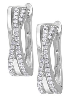 Diamond Crisscross Huggie Earrings - 0.25 ctw