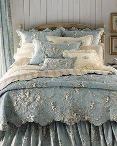 rich silver & aqua bedding