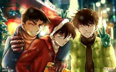 Heiji, Shinichi and Kaito, out shopping for Christmas. Heiji and Kaito are having fun at Shinichi's expense, as usual. Sherlock Holmes, Heiji Hattori, Detective Conan Shinichi, Gosho Aoyama, Kaito Kid, Kudo Shinichi, Romance, Case Closed, Magic Kaito
