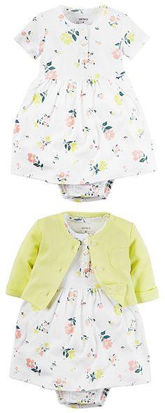 Carter's Baby Girls' 2 Piece Print Dress Set (9 Months, Yellow Floral)