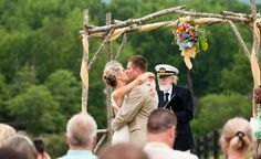 wedding photo taken at Montfair Resort Farm. like what they did with the arch.