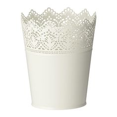 Beautiful Lace-inspired Ikea planters. Going to use these to hang from Shepherd's hooks lining the aisle at the ceremony. $3.99