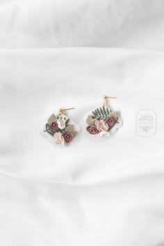Statement Earrings, Dangle Earrings, Boho Flowers, Polymer Clay Earrings, Flower Earrings, Modern Jewelry, Earrings Handmade, Dangles, Etsy Shop