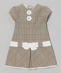 Gray Plaid Bow Cap-Sleeve Dress - Infant & Toddler by P'tite Môm on #zulily
