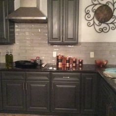 Castle Hazy Trail 3x12 Gray Ceramic Tile | TileBar.com Kitchen Cabinet Hardware, Diy Kitchen Cabinets, Grey Cabinets, Painting Kitchen Cabinets, Kitchen Cabinet Design, Kitchen Tiles, Kitchen Remodel, Ceramics, Backsplash