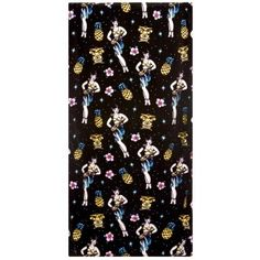 SOURPUSS TIKI PARTY BEACH TOWEL  Hit the beach with the Sourpuss Tiki Party towel! This velvety soft beach towel features our favorite tiki pattern complete with hula girls, tiki heads, flowers & pineapples.  $17.00