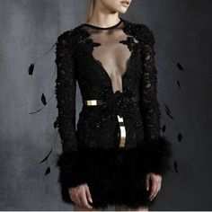 dotluxury on FashionTap: Make a statement in this embroidered Calais lace dress adorned with marabou feathers! via #dotluxury member Excellence Shop #luxury #luxuryfashion #hautecouture #feathers #lace #marabou #dress                                         (1) Hannah dress by Legends, via Excellence Shop  (2) Join our luxury community