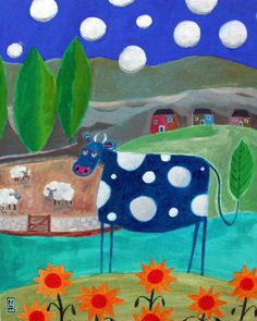 """Blue Cow by Nathaniel Mather, acrylic (from the """"Humor Me"""" series)"""