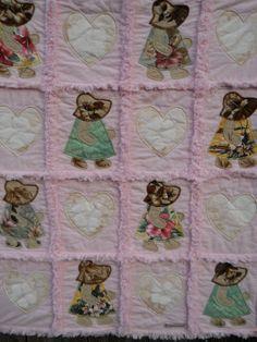 Hawaiian Hannah Aloha Hearts Pink Appliqued Rag Quilt. Shabby Chic f81e720216