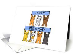 Happy Birthday Cartoon Cats. card