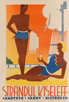 ROMANIA Bucharest Vintage Travel Poster Strandul Kiseleff www.it/en Vintage Advertisements, Vintage Ads, Tumblr Travel, Canvas Art Projects, Railway Posters, Art Deco, Vintage Graphic Design, Vintage Travel Posters, Grafik Design
