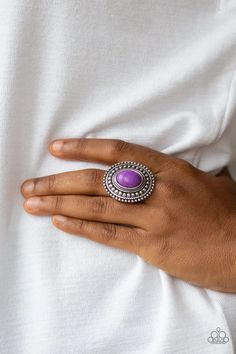 Paparazzi Accessories - Terra Terrain - Purple Ring Paparazzi Accessories, Paparazzi Jewelry, Purple Stone Rings, Silver Rings, Mobile Boutique, Wooden Earrings, Time Shop, Class Ring, Bling