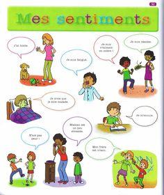 Sentiments 1. Source: Mon premier dictionnaire de Français Larousse Basic French Words, How To Speak French, Learn French, French Verbs, French Grammar, French For Beginners, French Worksheets, French Education, French Classroom