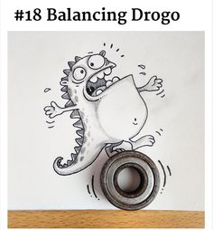 Adorable Illustrated Characters Playfully Interact With Real Life Objects #Balancing Drogo