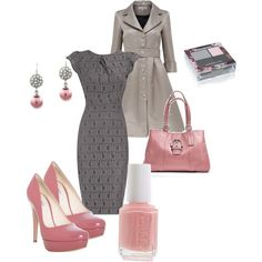 Grey and Pink, created by shemshay.polyvore.com