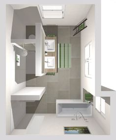 bathroom bathtub Frieling: Das Badezimmer mit T-Wand 16 qm Bathroom Plans, Master Bathroom, Loft Furniture, Bedroom Murals, Diy Home Improvement, Interior Design, House, Home Decor, Bathroom Remodeling