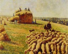 Flock of Sheep in a Field after the Harvest - Camille Pissarro 1889