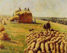 Rebaño de ovejas en un campo después de la cosecha - Camille Pissarro