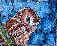 "Owl Art- 8""x10"" Print of Original Owl Oil Pastel Painting - ""Owl on Blue"" - Contemporary Expressionist Wildlife Art -"
