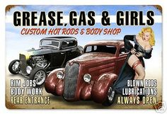 Grease-Gas-Girls-Custom-Hot-Rod-pin-up-sexy-metal-sign-12x18-Perfect-gift