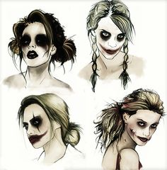 Harley Quinn concept art - I like the top left, all the others make her look too much like the joker.