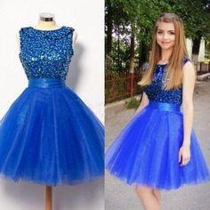royal blue Homecoming dress,short prom Dress,A-line Prom Dresses,prom dress for girls,BD1242