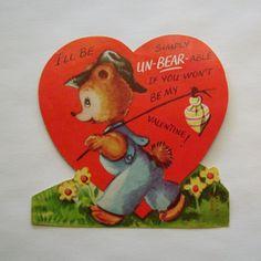 Vintage Valentine card die cut heart shaped bear made in USA by Ameri-card
