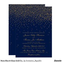 Glamorous navy blue and gold confetti wedding invitations.