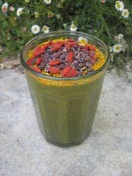 Kale-Spinach-Maca-Cacao Zing in your step- Superfood Smoothie (from We Are Wellness FB)  This is HARDCORE AM smoothie time.  3 cups of organic coconut water  1 cup of frozen bananas  2 cups of dark leafy kale  1/2 cup blueberries  1/4 cup of acai berries or powder  1/8 tsp of maca    TOP with:  1 tsp of bee pollen  1 tsp of cacao nibs  Handful of goji berries