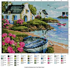 Pampering & Aligning: Grilles Point de Croix - Homes Cross Stitch House, Cute Cross Stitch, Cross Stitch Bird, Modern Cross Stitch, Cross Stitch Charts, Cross Stitch Designs, Cross Stitching, Cross Stitch Embroidery, Cross Stitch Patterns