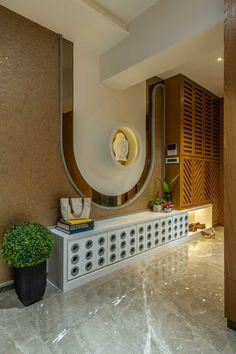 Welcome to Gaurav Kharkar & Associates :: – Indian Living Rooms Pooja Room Design, Foyer Design, Lobby Design, Home Room Design, Home Interior Design, Modern Interior, Design Design, Design Ideas, Main Entrance Door Design