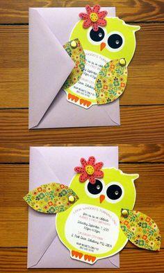 Owl First Birthday Invite. To order:  https://www.etsy.com/listing/183781226/owl-invitations-birthday-baby-shower