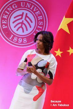 Fabulously Spotted: Michelle Obama Wearing Carolina Herrera - Stanford Center Speech at Peking University - http://www.becauseiamfabulous.com/2014/03/michelle-obama-wearing-carolina-herrera-stanford-center-speech-at-peking-university/