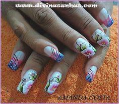 UNHAS DECORADAS E ESMALTES - DIVINAS UNHAS: UNHAS ARTÍSTICAS COM FLORES BY AMANDA One Stroke Nails, Pretty Nail Designs, Paws And Claws, Nail Arts, Pretty Nails, Nail Colors, Finger, Hair Beauty, Projects