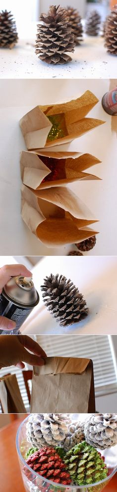 DIY Glittered Pine Cones