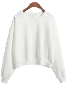 Round Neck Crop Loose White Sweatshirt
