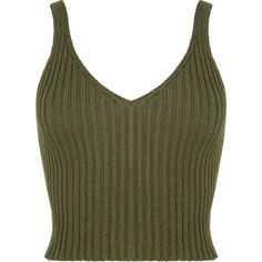 Ashley Ribbed Crop Top (€22) ❤ liked on Polyvore featuring tops, crop tops, shirts, tanks, green top, destroyed shirt, cropped tank top, green tank and green shirt