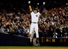Derek Jeter celebrates after a game winning RBI hit in the ninth inning against the Baltimore Orioles in his last game ever at Yankee Stadium on September 25, 2014 (Elsa/Getty Images). LOTS of great pics in this article!