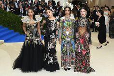 (L-R) Lori Harvey, Natasha Lau, Corinne Foxx and Sonia Ben Ammar in Dolce & Gabbana