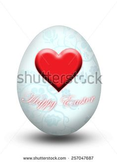 Easter egg with heart - stock photo