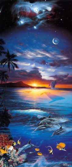 Seascape from Hawaii Christian Ries Lassen (Christian Riese Lassen) works) Fantasy Landscape, Fantasy Art, Dolphin Art, Seascape Art, Ocean Art, Nature Wallpaper, Marine Life, Science Nature, Art Pictures