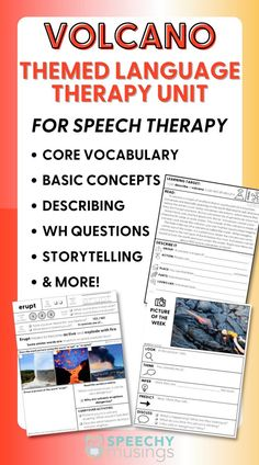 Looking for engaging speech therapy activities for your students? Try out a themed unit! Try a themed unit like this Volcano Language Therapy Unit! This themed language therapy unit includes a wide variety of materials and resources for your students with language goals using a fun and engaging VOLCANO theme! Receptive Language, Speech And Language, Speech Therapy Activities, Language Activities, Figurative Language Activity, Learning Targets, Volcano, Teacher Resources, Vocabulary
