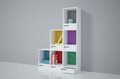 Here's a jolt of color in the form of storage: Florence-based studio Invasione Creativa designed modular shelves that look like Pantone swatches. The concept design features individual shelves with drawers, and can be hung or stacked. Modular Furniture, Design Furniture, Furniture Layout, Furniture Arrangement, Furniture Plans, Luxury Furniture, Furniture Makeover, White Furniture, Furniture Websites