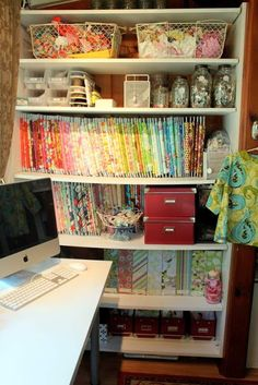Lots of great organization ideas. She has a lot of stuff in a small space! // The Cottage Mama Studio - The Cottage Mama